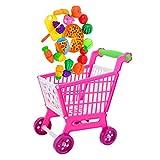 MagiDeal Kinder Kaufladen Zubehör - Mini-Einkaufswagen Warenkorb mit 24 Stück Lebensmittel Spielset
