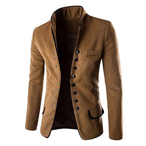 Meedot Herren Sakko Slim Fit Blazer - Männer Stehkragen Trenchcoat Outwear Casual Tunika Jacke Einknopf Anzugjacke Mantel Herbst Winter Khaki M