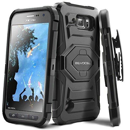 evocel® Galaxy S6Active Schutzhülle–Dual Layer [New Generation] Rugged Holster mit ausklappbarem Ständer und drehbarem Gürtelclip für Samsung Galaxy S6Active (G890) -