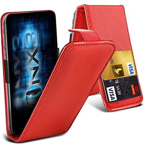 ONX3® (Red) HTC Desire 700 Fall Universal-Luxuxart Folding PU-Leder Federklemmhalter Top-Schlag- Fall mit 2-Karten-Slot, nach oben und unten Kamera - Desire Handy-fall, Htc 700