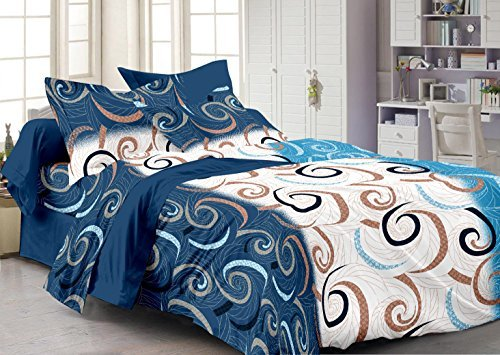 Story@Home Forever 100% Cotton Abstract 240 TC Superior Double Bed Bedsheet with 2 Pillow Cover, Blue