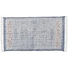 Store Indya, Tessuto a mano cotone morbido grande pavimento tappeti con nappa floreale block stampa (Cotone Tessuto Piano Tappeto)