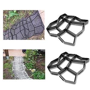 Hengda® 2x Betonform Pflasterform Schalungsform Gießform Plastikformen für Beton Garten Gehwegen Trittsteinen DIY Natursteinpflaster Pflastersteine Terrassenplatten