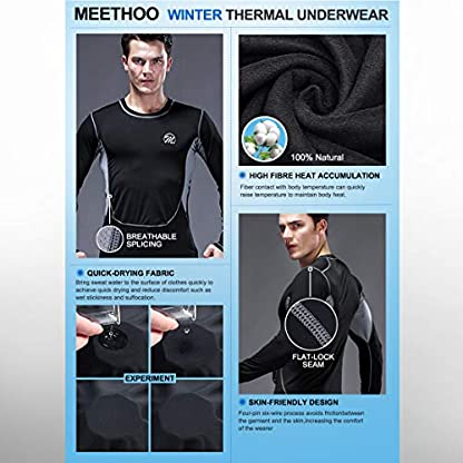 MeetHoo Men's Thermal Underwear Set, Compression Base Layer Sports Long Johns Fleece Lined Winter Gear Running Skiing 5