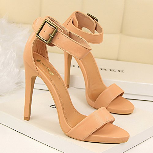 LGK&FA Fine Cuir Toe Chaussures À Talons Hauts Avec De Simples Sandales Boucle Mot 34 Pink