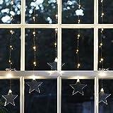 Lights4fun 47er LED Sternen Lichtervorhang perlweiß Timer 4,5V
