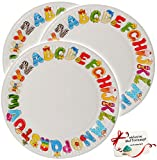Unbekannt 40 TLG. Set _ Pappteller -  Buchstaben - ABC / Alphabet  - Teller zum Schulanfang / Geburtstag - Ø 23 cm - Schuleinführung & Kindergeburtstag - Einwegteller..