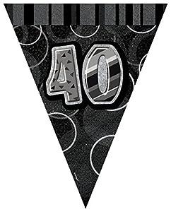 Unique Party- Banderines de 40 cumpleaños, Color Negro, Edad (90804)