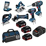 Bosch Professional 18 V Power Tool Kit and Bag (3 x 5.0 Ah Lithium-Ion CoolPack Batteries) - 6-Piece