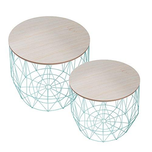 2er Set Moderner Couchtisch Beistelltisch STORAGE mint Aufbewahrungsfach mit Eiche Ablage Aufbewahrungskorb mit Holzdeckel Deckel Korb Aufbewahrung Tische -