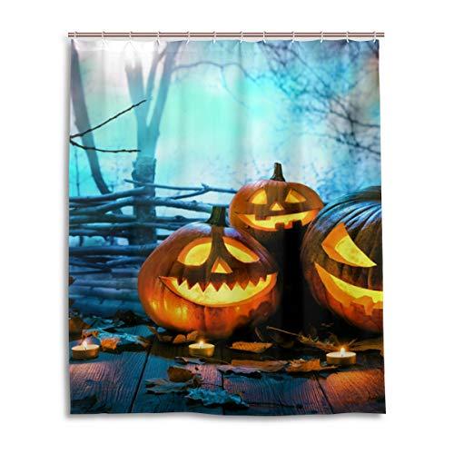 JSTEL Decor Duschvorhang aus Holz Halloween Spooky Wald Muster Druck 100% Polyester Duschvorhang Textil 152,4 x 182,9 cm für Haus Bad Deko Duschvorhang