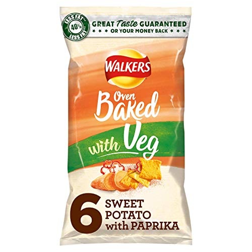 Walkers Oven Baked Sweet Potato and Paprika, Multipack Crisps, 6 x 23 g (Case of 8)
