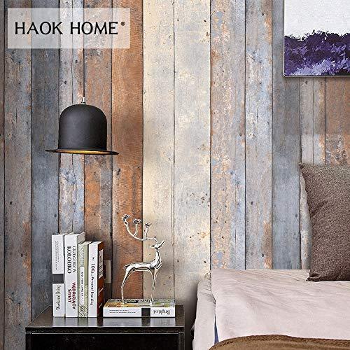 KYKDY Weinlese-beunruhigte hölzerne Tapeten-Rollen für Wand 3d PVC rauchige graue hölzerne Planken-Platten-Wandhauptküche Badezimmer-Dekor, China