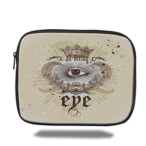 Tablet Bag for Ipad air 2/3/4/mini 9.7 inch,Eye,Artistic Vintage Emblem Eye Victorian Laurel Branches Crown Calligraphy Decorative,Light Yellow Brown White,3D Print Vintage Laurel