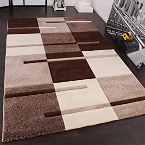 Designer Carpet With Modern Contour Cuts With A Chequered Pattern In Beige And Brown from PHC