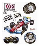 Stickerkoenig 3D Sticker XXL Wandtattoo Kinderzimmer Wandsticker - F1 Rennwagen Rennauto Formel 1 im Set