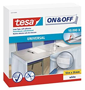 Tesa On/Off Ruban auto-agrippant velours Blanc 10 m x 20 mm