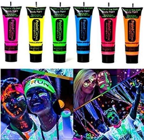 Pack de 10 pinturas para la cara y el cuerpo que brillan en la oscuridad, color neón