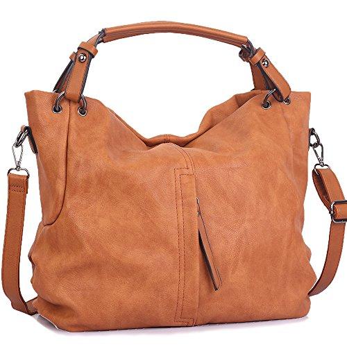 WISHESGEM Handtaschen Damen Taschen Hobo Umhängetaschen Schultertaschen Handtaschen PU-Leder Henkeltaschen Modernes 36cm(L)*16cm(W)*30cm(H) Braun -