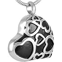 Cherished Urns - Colgante de cremación de cenizas en forma de corazón, color negro