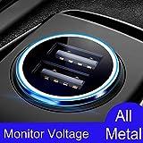 Cargador de Coche con Doble USB Puerto Cargador Móvil 4.8A/24W [Todo Metal] [Indicador de Estado del Voltaje del automóvil] Adaptador Automóvil con Fast Charging Mini para Phone, Samsung y más (Negro)