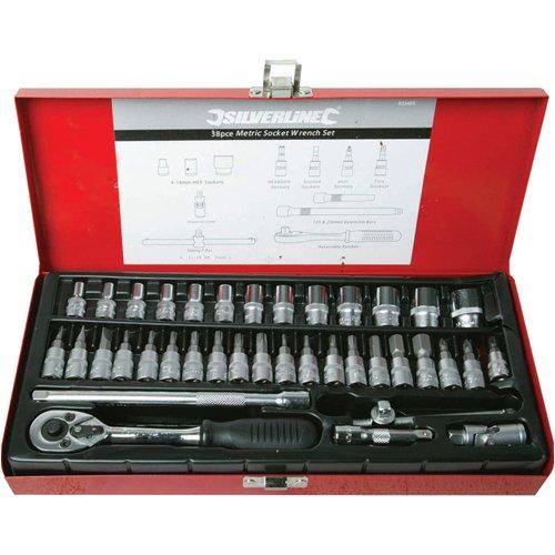 """Silverline 633493 - Set composto da chiave a cricchetto, prolunga chiave, giunto cardanico, ferro a T e chiavi a bussola da 1/4"""", 38 pezzi"""