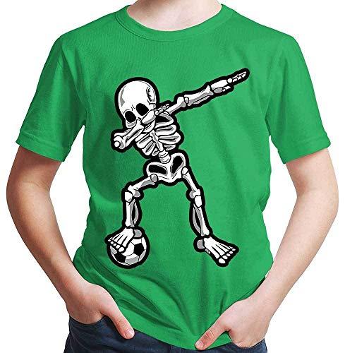HARIZ Jungen T-Shirt Dab Skelett mit Fussball Dab Dabbing Dance Halloween Plus Geschenkkarten Grün 128/7-8 Jahre