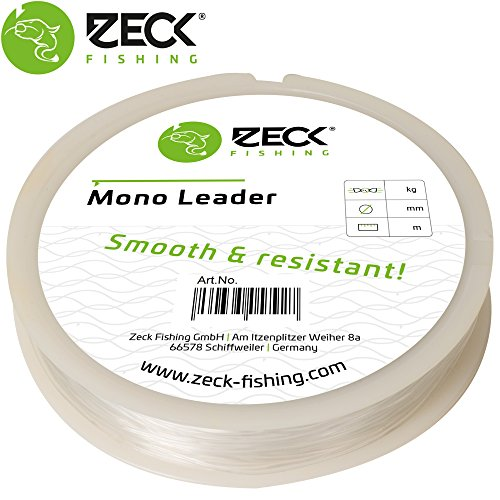 Zeck Mono Leader 50m - Vorfachschnur zum Wallerangeln, Monofile Schnur für Welsmontagen, Wallervorfach, Mono Vorfachmaterial, Durchmesser/Tragkraft:1.0mm/55kg Tragkraft