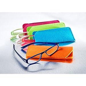 Extrem leichte Filtral Lesebrille mit Filz-Etui in bunten Farbkombinationen, pink/blau, grün/pink, weiß/grün, oder blau/orange (+1.0 bis +3.0 Dioptrie)