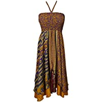 Boho Chic Designs Ladies Hi Low Sundress 2 Layer Upcycled Silk Sari Beach Resort Halter Dresses S