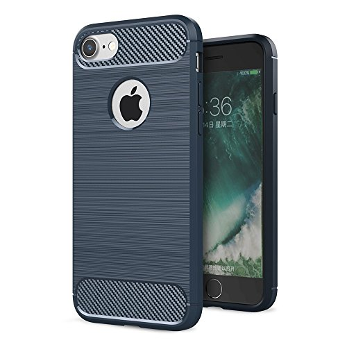 König-Shop - Carbon Outdoor Case Panzer Hülle Cover Hybrid Handytasche Schutzhülle Handyhülle, Farbe:Blau, Größe:Apple iPhone 8 Plus Blau