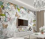 WAHAZC Große Wandbilder Seide Tapete 3D Wandgemälde 3D Blume Schmetterling Wandbild Fototapete für Dekor Wandbilder Wandverkleidungen TV Hintergrund Wand Badezimmer Restaurant Hall Wohnzimmer Flur K