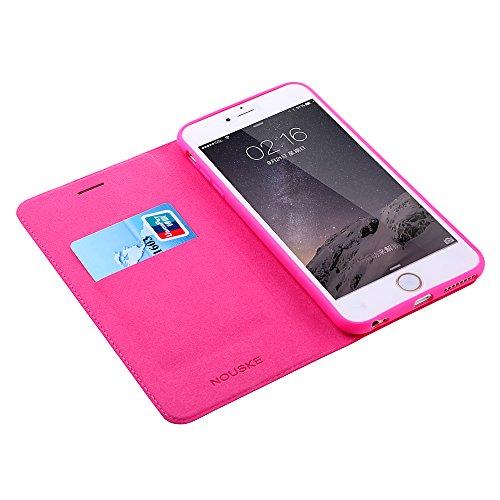 Nouske étui Folio en cuir pour Apple iPhone 6 Plus / 6s Plus, Cover Coque TPU Porte cartes avec Support Protection intégrale, Rose Pink Rose