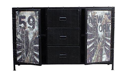 SIT-Möbel 6303-11 (STEEL) Sideboard, Metall, korpus schwarz / front bunt, 40 x 140 x 88 cm - 3