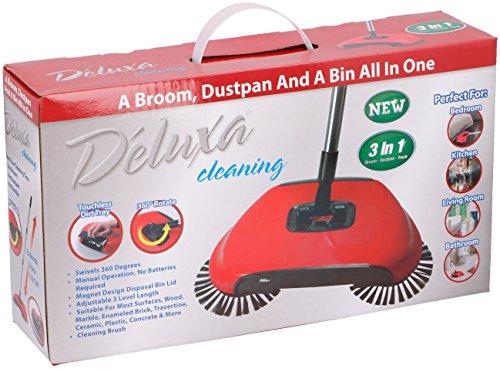 Deluxa 3in1 kabelloser Bodenkehrer Teppichkehrer Kehrmaschine Kehrbürste Kehrmaschine Auswahl: rot, blau, grün (rot)