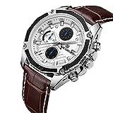 mit echtem Quarz männlich Uhren ECHTES LEDER UHREN Racing Herren Studenten Spiel Run Chronograph Stecker Glow Hände