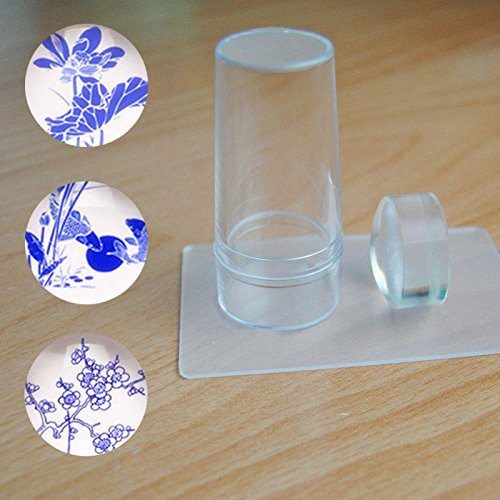 2 en 1 Gelée Claire Silicone Nail Art Stamper & Grattoir Emboutissage Outil