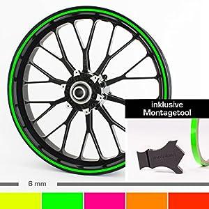 Motoking Felgenrandaufkleber mit Montagetool für Ihr Motorrad in NEON / 6 mm / für 10