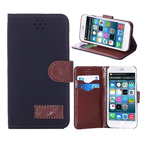 "inShang Hülle für Apple iPhone 6 Plus iPhone 6S Plus 5.5 inch iPhone 6+ iPhone 6S+ iPhone6 5.5"", Cover Mit Modisch Klickschnalle + Errichten-in der Tasche + GRID PATTERN, Edles PU Leder Tasche Skins E patch navy blue"