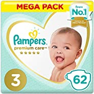 Pampers Premium Care Diapers, Size 3, Midi, 6-10 kg