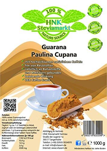 Reines Guarana Paulina Cupana Koffein Pulver pur | Energy Drink Pulver | 100% Natürlich | OHNE chemische Zusatzstoffe | 1er Pack (1 x Kg) -