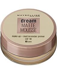 Maybelline Dream Matte Mousse Make-up Nr. 30 Sand, mattierendes Make-up mit luftgeschlagener Mousse-Textur, für ein luftig-leichtes Tragegefühl und wunderbar zarte Haut, 18 ml