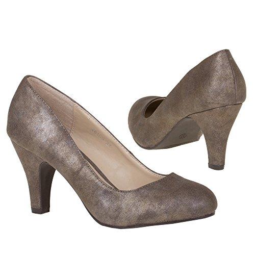 Damen Schuhe, 28101, PUMPS Bronze Braun 28109