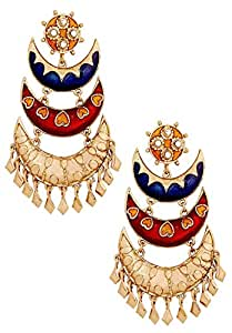The Jewelbox Gold Plated Meenakari Blue Maroon Large Chandelier Earrings for Women
