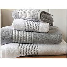 Conjunto toallas de baño 100% algodón 5piezas gris & blanco
