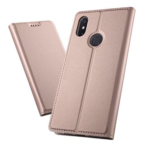 XINKO Xiaomi Mi Max 3 Wallet Tasche Hülle - [Ultra Slim][Card Slot][Eingebauter Magnet] Flip Wallet Case Etui für Xiaomi Mi Max 3 - Glatt Series Rose Gold