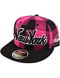 5d62d33faee Itzu Snapback Baseball Cap New York NY Lumberjack Check Hat Adult in Red  Black Purple Blue