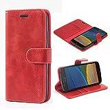 Mulbess Ledertasche im Ständer Book Case / Kartenfach für Lenovo Moto G5 Tasche Hülle Leder Etui,Wine Rot