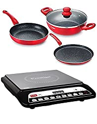Prestige Induction Cooktop Pic 20.0 with Omega Deluxe Metallica Red BYK Set 3 Pc Set