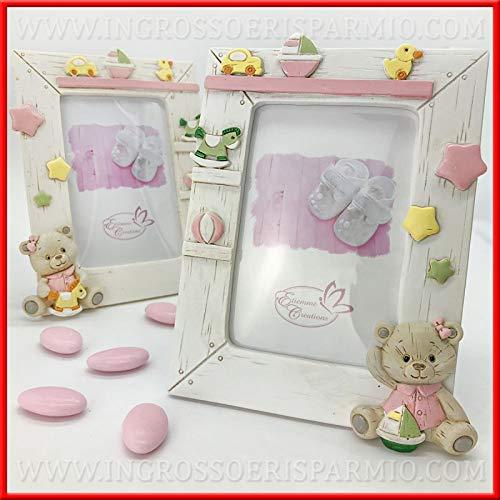 Ingrosso e risparmio portafoto da tavolo con cornice in resina effetto legno e orsetto rosa bomboniere originali battesimo bambina (con confezione rosa)